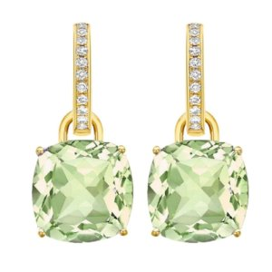Kiki Classics 18ct Yellow Gold, Cushion Cut Green Amethyst and Diamond Detachable Hoop Earrings