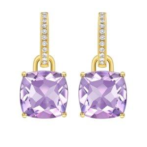 Kiki Classics 18ct Yellow Gold, Cushion Cut Lavender Amethyst and Diamond Detachable Hoop Earrings