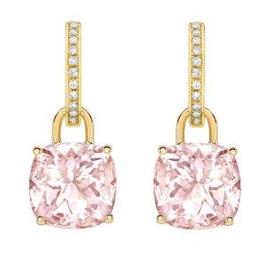 Kiki Classics 18ct Yellow Gold, Morganite and Diamond Hoop Detachable Earrings