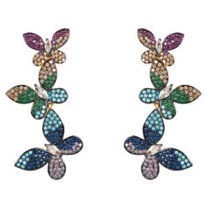 LATELITA - Butterfly Rainbow Drop Earrings Gold
