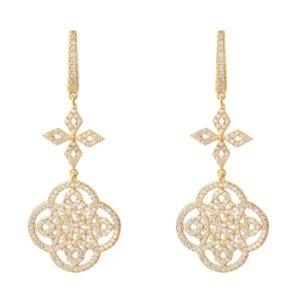 LATELITA - Celtic Knot Clover Drop Earrings Gold