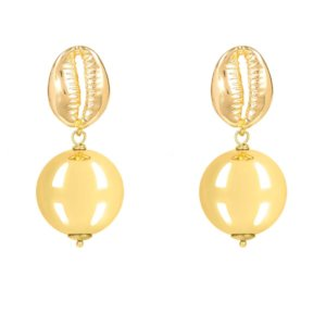 LATELITA - Cowrie Puka Shell Ball Drop Earring Gold