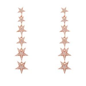 LATELITA - Graduated Star Drop Earring Rosegold