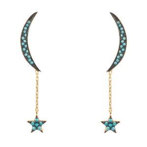 LATELITA - Moon & Star Earrings Gold Turquoise