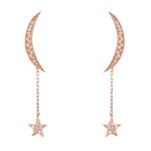 LATELITA - Moon & Star Earrings Rosegold White Cz