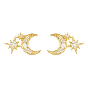 LATELITA - Moon & Starburst Small Stud Earrings Gold