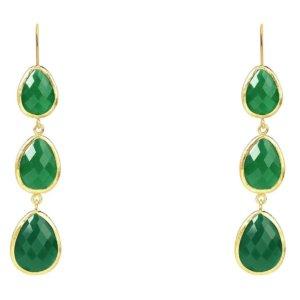 LATELITA - Triple Drop Earring Green Onyx Gold