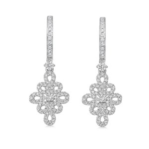 Lace 18ct White Gold and 0.42ct Filigree Diamond Detail and Diamond Hoop Earrings