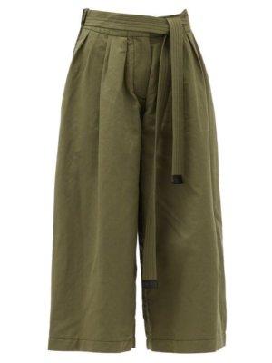 Loewe - Cropped Cotton-blend Wide-leg Trousers - Womens - Khaki