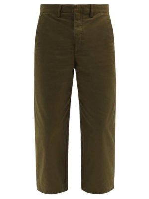Loewe - Cropped Cotton-twill Straight-leg Trousers - Mens - Green
