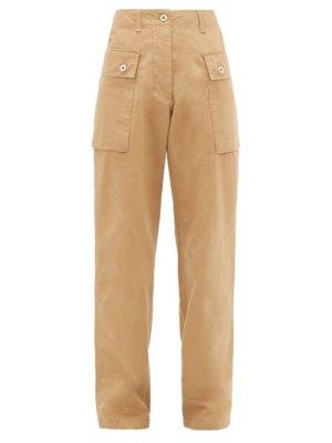 Loewe - High-rise Cotton-herringbone Cargo Trousers - Womens - Beige