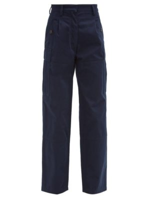 Loewe - High-rise Cotton-twill Cargo Trousers - Womens - Navy