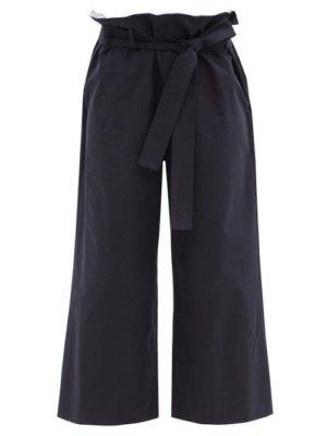 Loewe - Paperbag-waist Cotton-gabardine Cropped Trousers - Womens - Navy