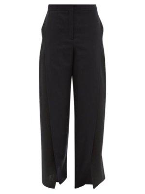 Loewe - Slit Wool Twill And Seersucker Trousers - Womens - Black