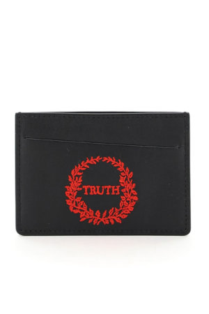 MAISON MARGIELA LEATHER CARD HOLDER TRUTH EMBROIDERY OS Black, Red Leather
