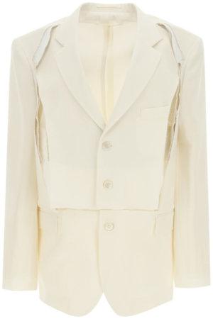 MAISON MARGIELA MOHAIR AND WOOL JACKET 40 Beige, White Wool