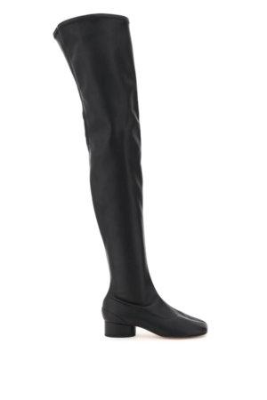 MAISON MARGIELA OVER THE KNEE TABI BOOTS 39 Black Faux leather