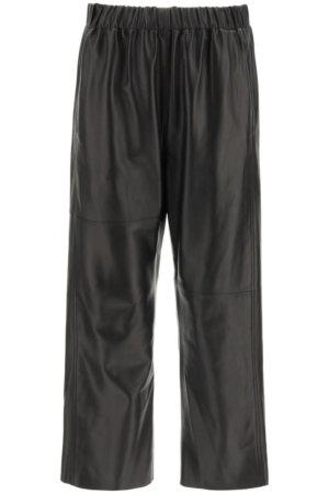 MM6 MAISON MARGIELA LEATHER TROUSERS 42 Black Leather