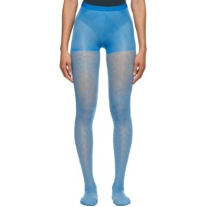 Marine Serre Blue Jacquard Sheer Moon Tights