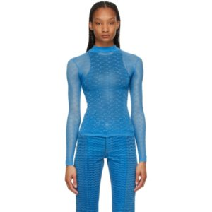 Marine Serre Blue Sheer Moon Long Sleeve T-Shirt