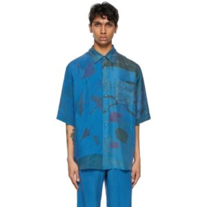 Marine Serre Blue Silk Patchwork Scarves Short Sleeve Shirt