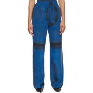 Marine Serre Blue Silk Scarves Loose Trousers