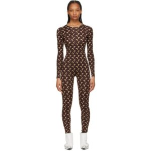 Marine Serre Brown Iconic All Over Moon Catsuit