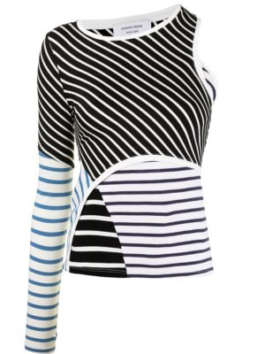 Marine Serre contrast-stripe cut-out top - Black