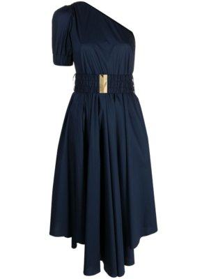 Michael Michael Kors belted flared one shoulder dress - Blue