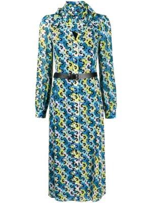 Michael Michael Kors belted-waist midi dress - Blue