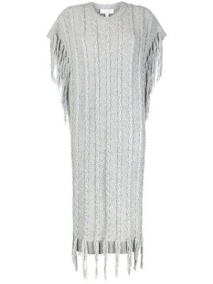 Michael Michael Kors tassel-detail knitted midi dress - Grey