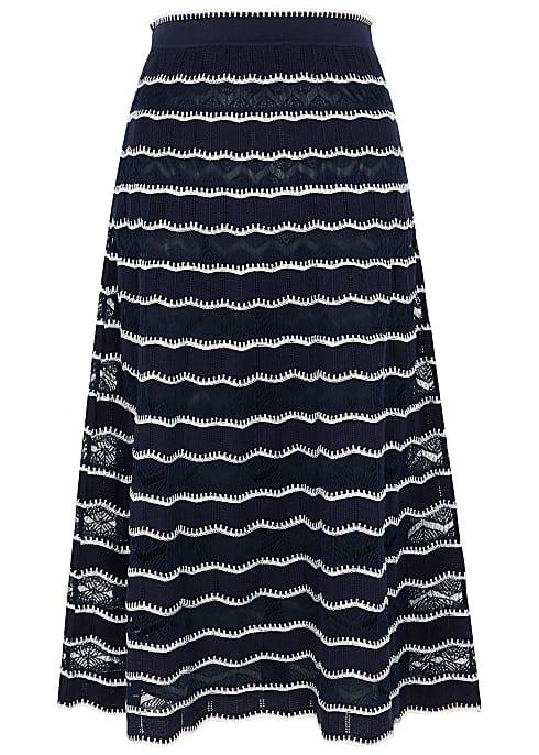striped navy blue white long skirt