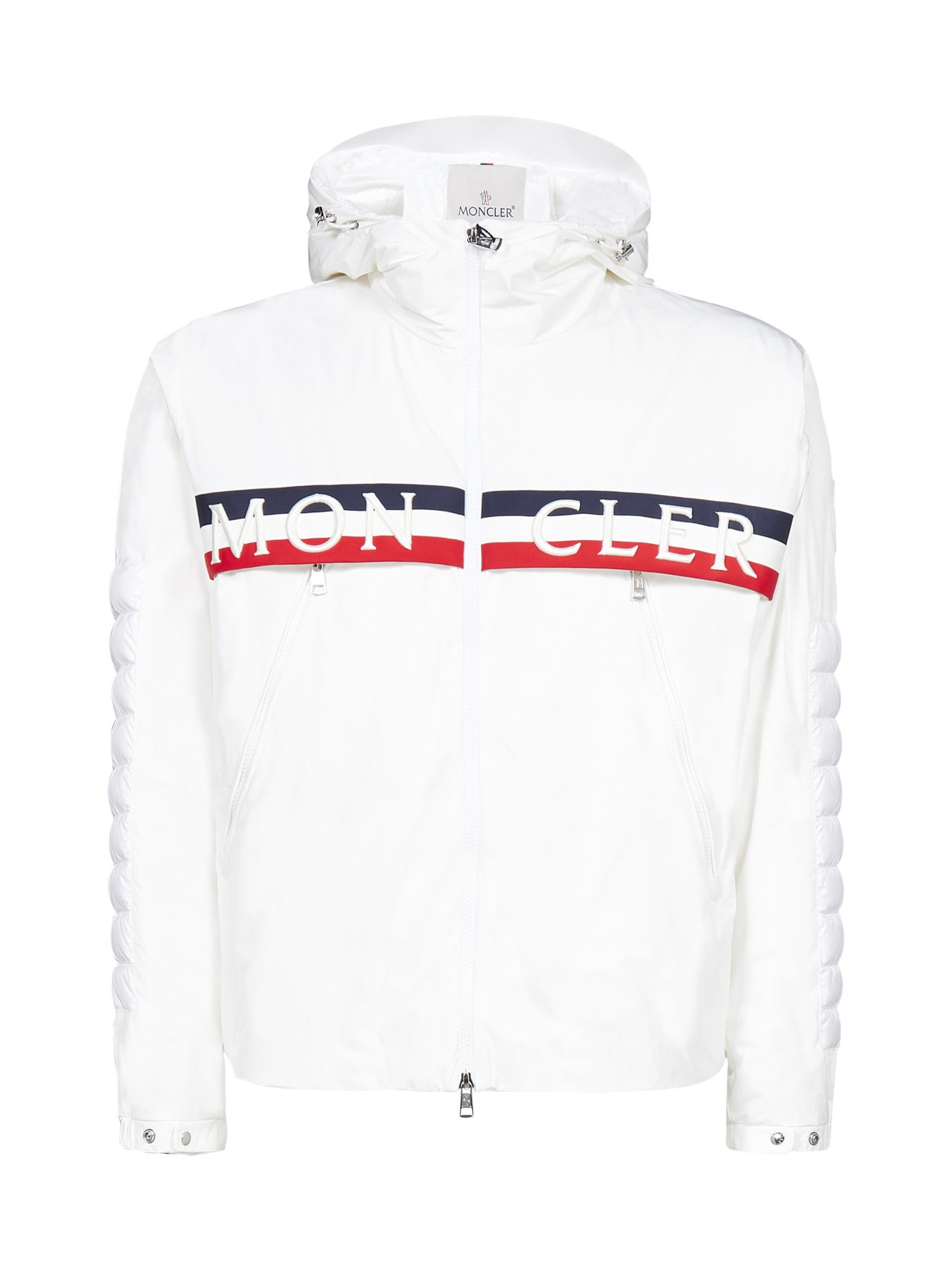 white puffer jacket with red blue stripe