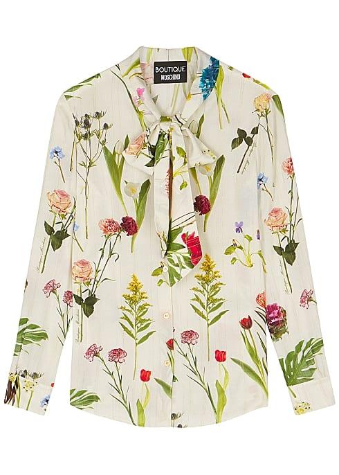 cream floral print blouse