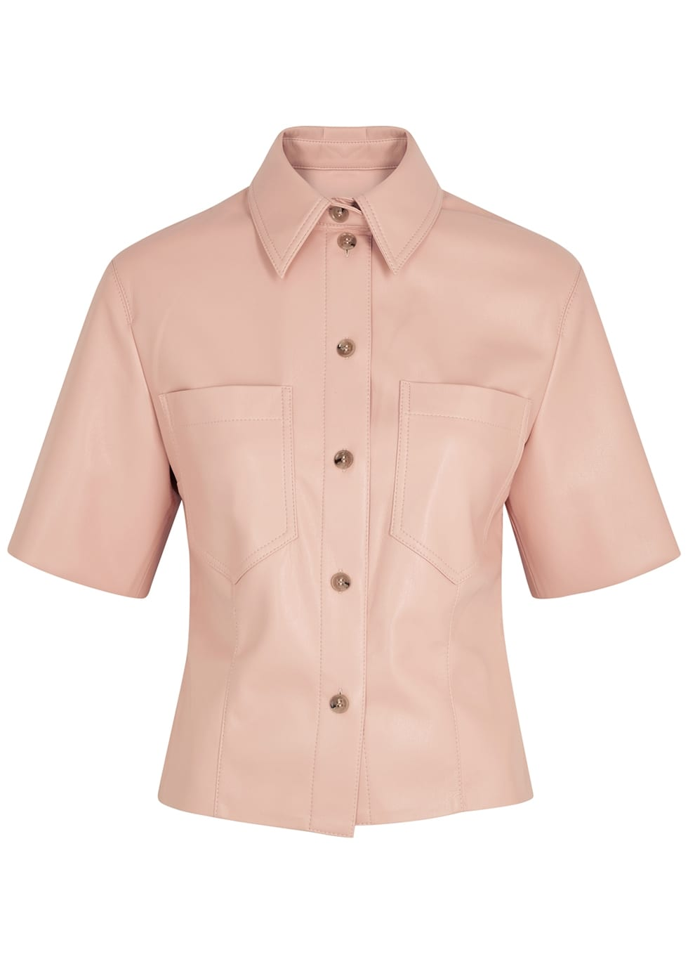 pink leather shirt