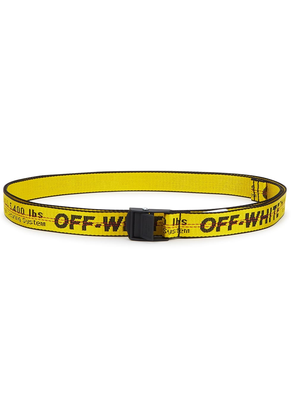 yellow canvas belt with black buckle