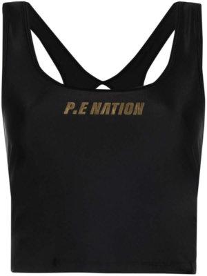 P.E Nation Front Runner logo print tank top - Black