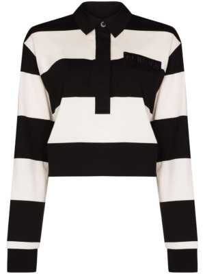 P.E Nation Groundswell stripe-pattern polo top - Black