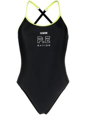 P.E Nation Twist Serve logo-print swimsuit - Black