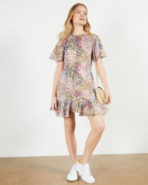 Printed Fluted Hem Mini Dress