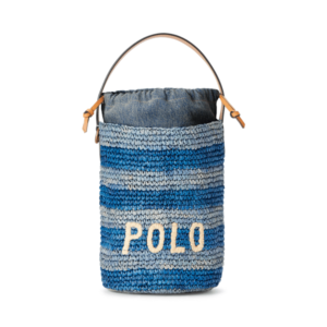 Raffia Striped Mini Bucket Bag