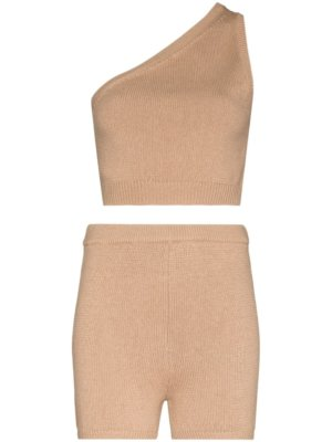 Reformation Roze knitted top and shorts set - Brown