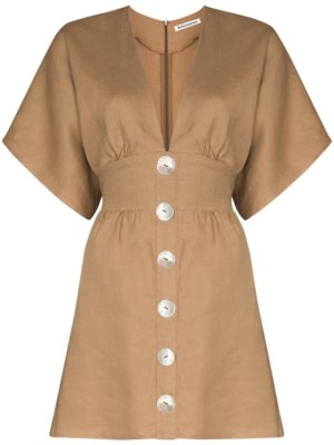 Reformation flared button mini dress - Brown