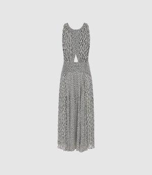 Reiss Alexandria - Printed Midi Dress in Black/White, Womens, Size 4