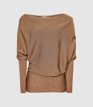 Reiss Bloor - Ribbed Asymmetric Top in Camel, Womens, Size XS