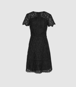 Reiss Czara - Lace Midi Dress in Black, Womens, Size 4