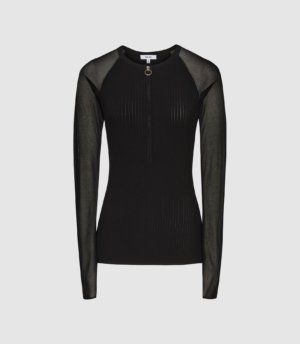 Reiss Lia - Zip Neck Top With Sheer Sleeves in Black, Womens, Size XS