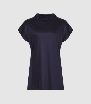 Reiss Pax - High Neck Top in Navy, Womens, Size XS