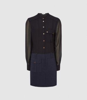 Reiss Tia - Semi Sheer Detailed Mini Dress in Navy/Black, Womens, Size 4