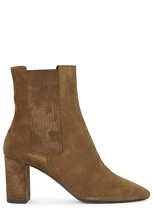 dark brown suede high heeled ankle boots